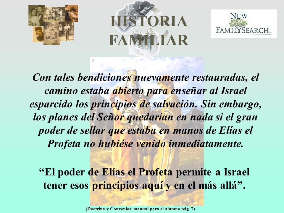 HISTORIA FAMILIAR N EW ¿Qué autoridad del Sacerdocio tenía que restaurar o revelar Elias el profeta a José Smith.