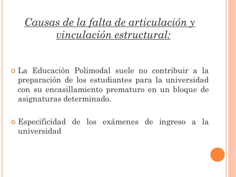 Causas de la falta de articulación y vinculación estructural: La Educación Polimodal suele no contribuir a la preparación de los estudiantes para la u