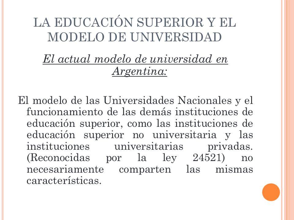 LA EDUCACIÓN SUPERIOR Y EL MODELO DE UNIVERSIDAD El actual modelo de universidad en Argentina: El modelo de las Universidades Nacionales y el funciona