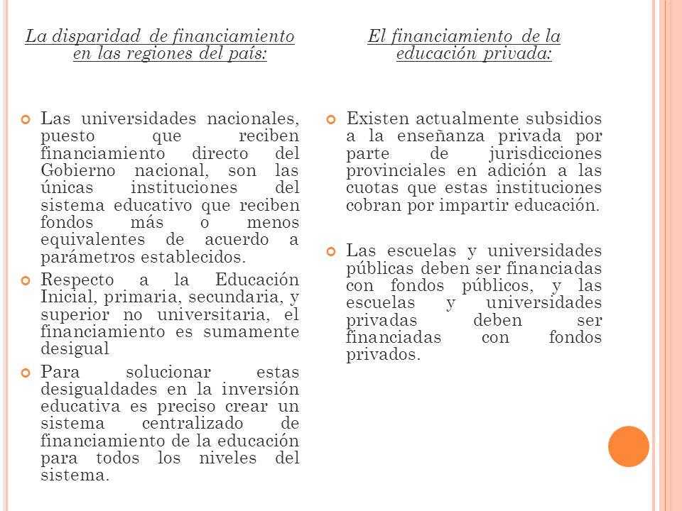 La disparidad de financiamiento en las regiones del país: Las universidades nacionales, puesto que reciben financiamiento directo del Gobierno naciona