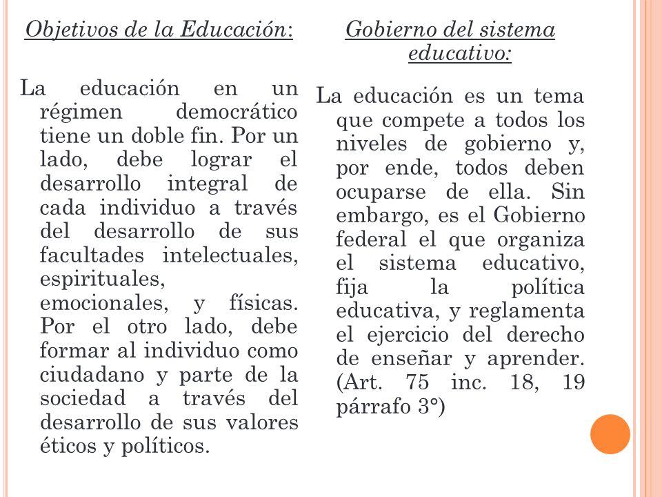 Objetivos de la Educación : La educación en un régimen democrático tiene un doble fin. Por un lado, debe lograr el desarrollo integral de cada individ