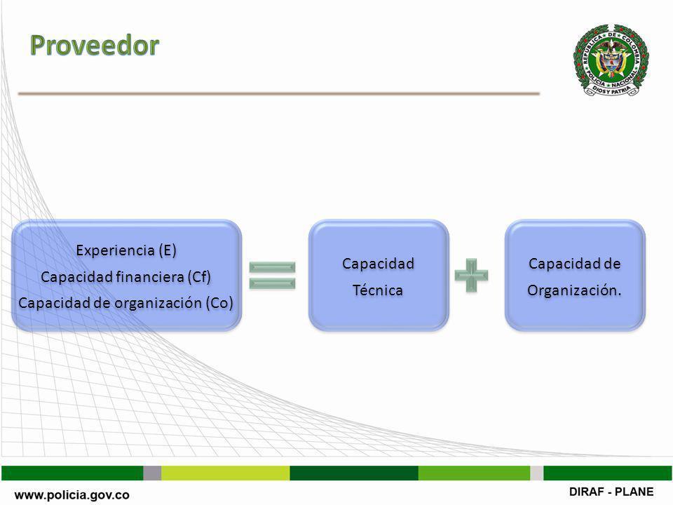 Experiencia (E) Capacidad financiera (Cf) Capacidad de organización (Co) Experiencia (E) Capacidad financiera (Cf) Capacidad de organización (Co) Capacidad Técnica Capacidad Técnica Capacidad de Organización.