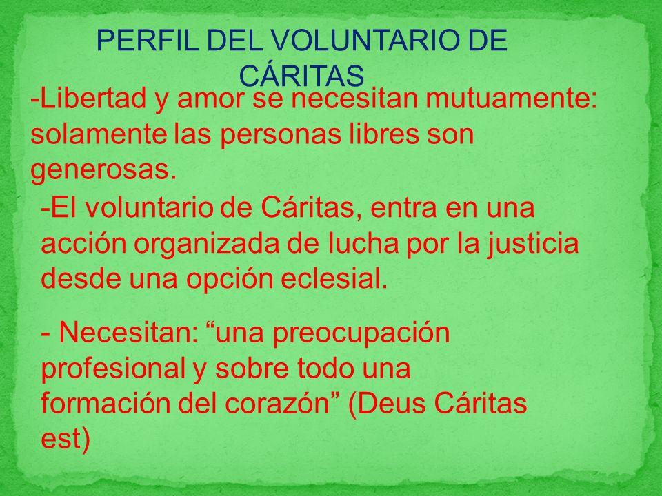 -Libertad y amor se necesitan mutuamente: solamente las personas libres son generosas. PERFIL DEL VOLUNTARIO DE CÁRITAS -El voluntario de Cáritas, ent