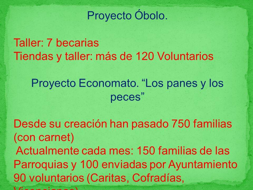 Proyecto Óbolo. Taller: 7 becarias Tiendas y taller: más de 120 Voluntarios Proyecto Economato. Los panes y los peces Desde su creación han pasado 750