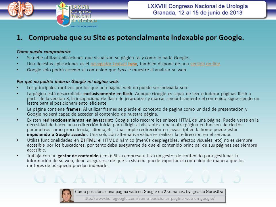 Cómo puedo comprobarlo: Se debe utilizar aplicaciones que visualizan su página tal y como lo haría Google.