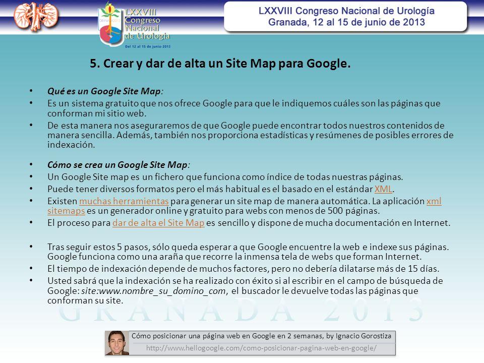 Qué es un Google Site Map: Es un sistema gratuito que nos ofrece Google para que le indiquemos cuáles son las páginas que conforman mi sitio web.