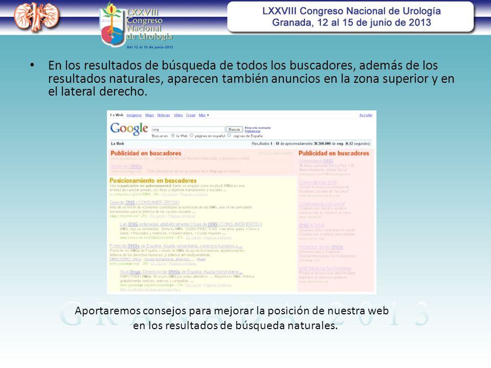 En los resultados de búsqueda de todos los buscadores, además de los resultados naturales, aparecen también anuncios en la zona superior y en el lateral derecho.