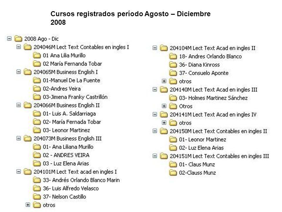 Cursos registrados período Agosto – Diciembre 2008