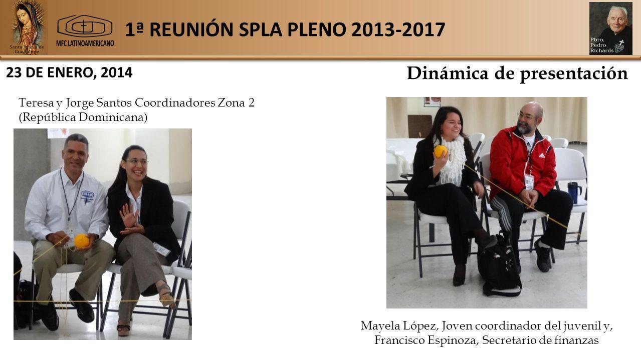 1ª REUNIÓN SPLA PLENO 2013-2017 23 DE ENERO, 2014 Dinámica de presentación Teresa y Jorge Santos Coordinadores Zona 2 (República Dominicana) Mayela López, Joven coordinador del juvenil y, Francisco Espinoza, Secretario de finanzas