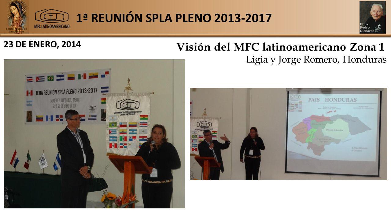 1ª REUNIÓN SPLA PLENO 2013-2017 23 DE ENERO, 2014 Visión del MFC latinoamericano Zona 1 Ligia y Jorge Romero, Honduras
