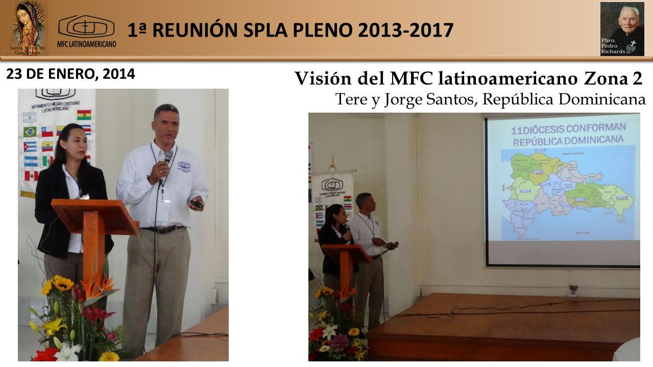 1ª REUNIÓN SPLA PLENO 2013-2017 23 DE ENERO, 2014 Visión del MFC latinoamericano Zona 2 Tere y Jorge Santos, República Dominicana