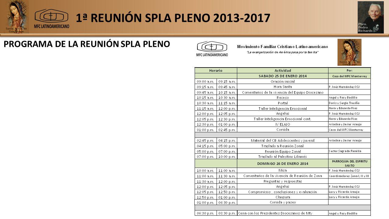 1ª REUNIÓN SPLA PLENO 2013-2017 PROGRAMA DE LA REUNIÓN SPLA PLENO