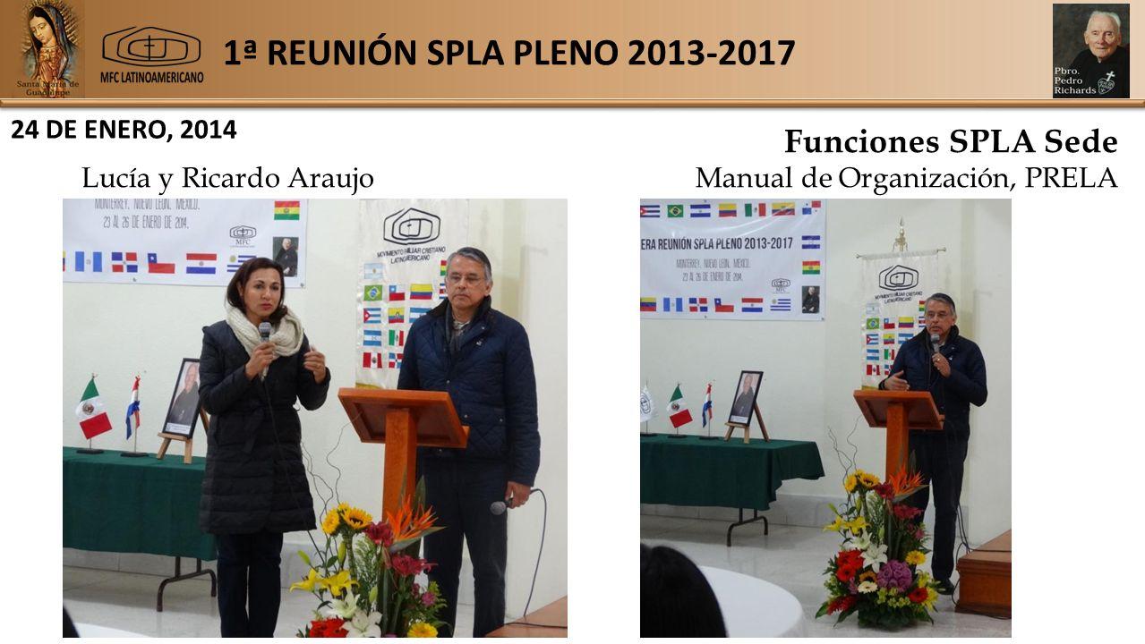 1ª REUNIÓN SPLA PLENO 2013-2017 24 DE ENERO, 2014 Funciones SPLA Sede Lucía y Ricardo AraujoManual de Organización, PRELA