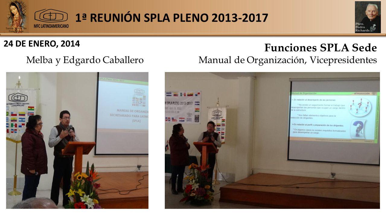 1ª REUNIÓN SPLA PLENO 2013-2017 24 DE ENERO, 2014 Funciones SPLA Sede Melba y Edgardo Caballero Manual de Organización, Vicepresidentes