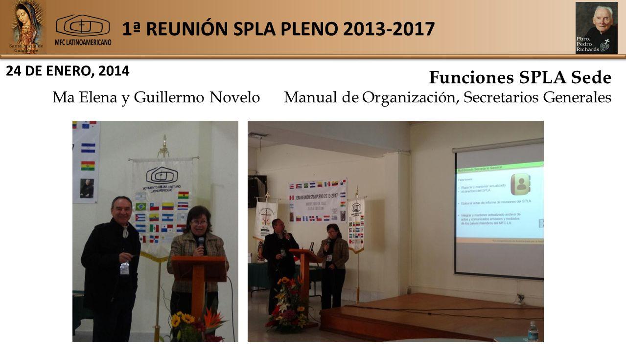 1ª REUNIÓN SPLA PLENO 2013-2017 24 DE ENERO, 2014 Funciones SPLA Sede Ma Elena y Guillermo Novelo Manual de Organización, Secretarios Generales