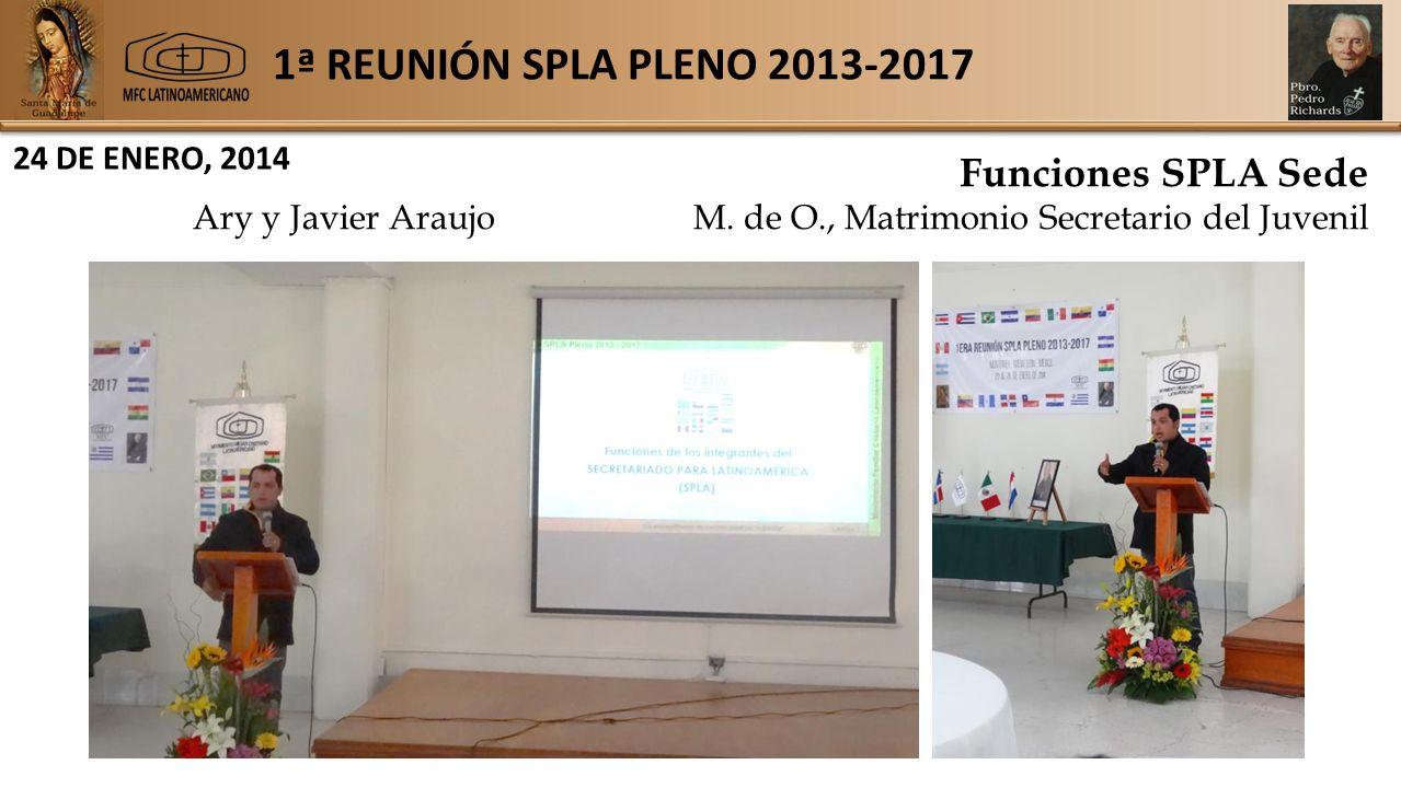 1ª REUNIÓN SPLA PLENO 2013-2017 24 DE ENERO, 2014 Funciones SPLA Sede Ary y Javier AraujoM.
