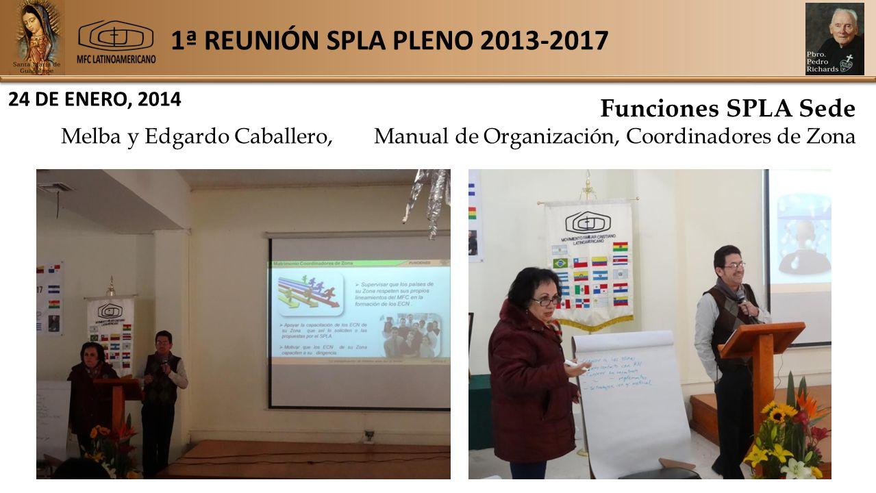 1ª REUNIÓN SPLA PLENO 2013-2017 24 DE ENERO, 2014 Funciones SPLA Sede Melba y Edgardo Caballero,Manual de Organización, Coordinadores de Zona