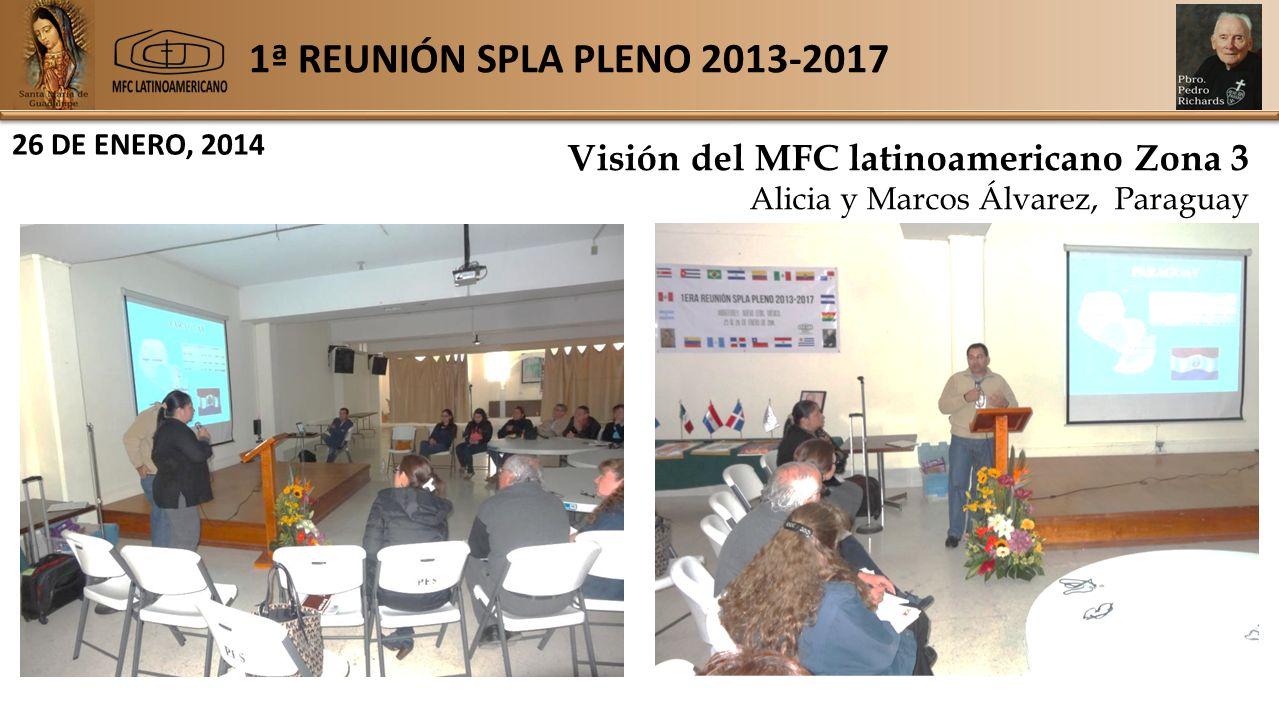 1ª REUNIÓN SPLA PLENO 2013-2017 26 DE ENERO, 2014 Visión del MFC latinoamericano Zona 3 Alicia y Marcos Álvarez, Paraguay