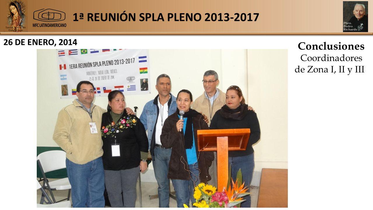 1ª REUNIÓN SPLA PLENO 2013-2017 26 DE ENERO, 2014 Conclusiones Coordinadores de Zona I, II y III