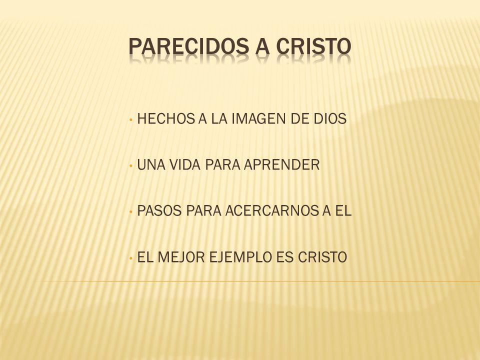 HECHOS A LA IMAGEN DE DIOS UNA VIDA PARA APRENDER PASOS PARA ACERCARNOS A EL EL MEJOR EJEMPLO ES CRISTO