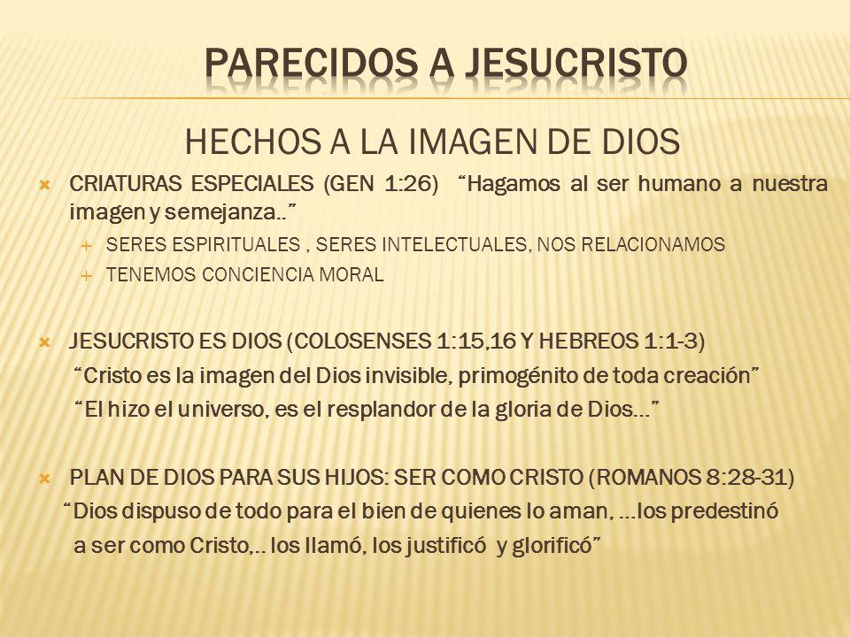 HECHOS A LA IMAGEN DE DIOS CRIATURAS ESPECIALES (GEN 1:26) Hagamos al ser humano a nuestra imagen y semejanza.. SERES ESPIRITUALES, SERES INTELECTUALE