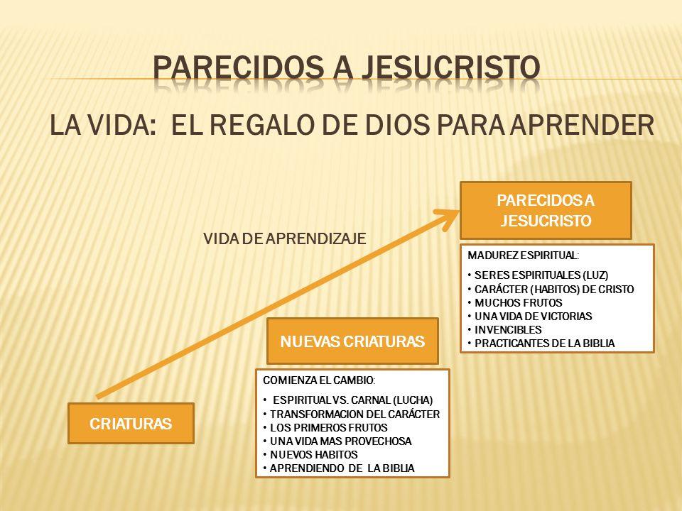 LA VIDA: EL REGALO DE DIOS PARA APRENDER VIDA DE APRENDIZAJE CRIATURAS NUEVAS CRIATURAS PARECIDOS A JESUCRISTO COMIENZA EL CAMBIO: ESPIRITUAL VS. CARN
