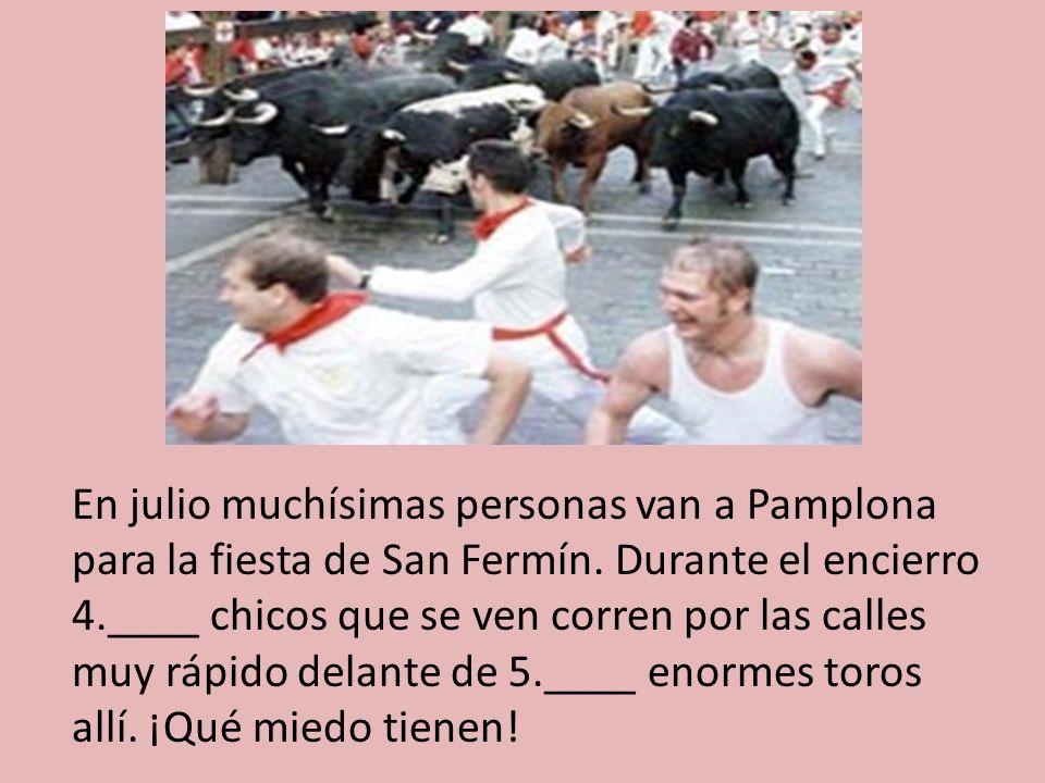 En julio muchísimas personas van a Pamplona para la fiesta de San Fermín.