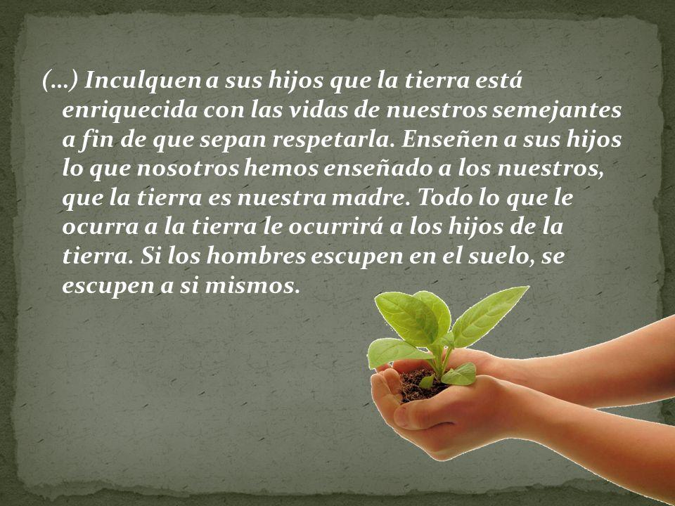 (…) Inculquen a sus hijos que la tierra está enriquecida con las vidas de nuestros semejantes a fin de que sepan respetarla.