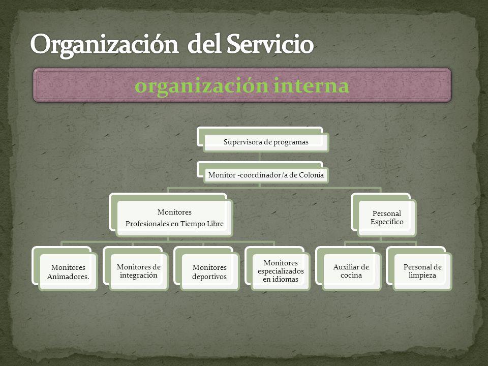 organización interna Supervisora de programas Monitor -coordinador/a de Colonia Monitores Profesionales en Tiempo Libre Monitores Animadores.