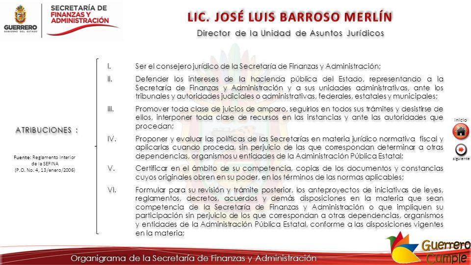 Director de la Unidad de Asuntos Jurídicos ATRIBUCIONES : I.Ser el consejero jurídico de la Secretaría de Finanzas y Administración; II.Defender los i