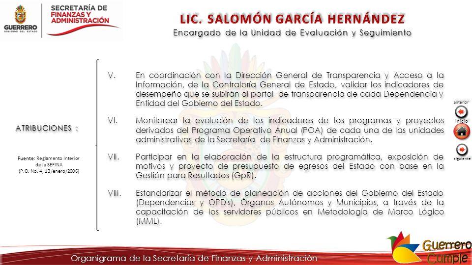 ATRIBUCIONES : V.En coordinación con la Dirección General de Transparencia y Acceso a la Información, de la Contraloría General de Estado, validar los