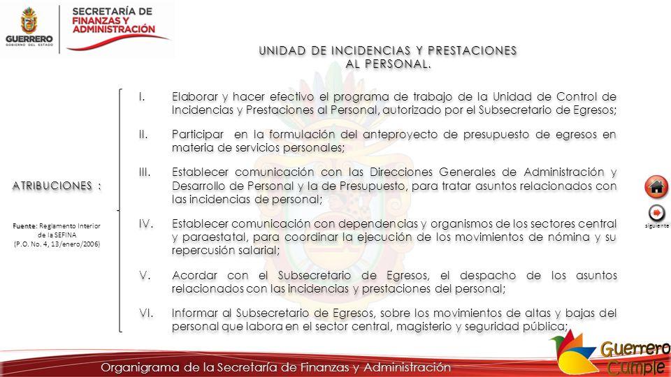UNIDAD DE INCIDENCIAS Y PRESTACIONES AL PERSONAL.