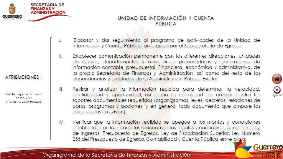 UNIDAD DE INFORMACIÓN Y CUENTA PÚBLICA ATRIBUCIONES : I. Elaborar y dar seguimiento al programa de actividades de la Unidad de Información y Cuenta Pú