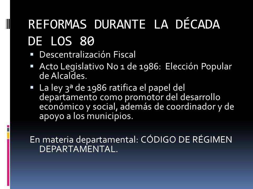 REFORMAS DURANTE LA DÉCADA DE LOS 80 DESCENTRALIZACIÓN = MUNICIPALIZACIÓN Objetivos: La creación de la capacidad de los municipios para la auto presta