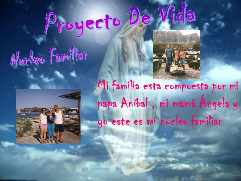 Mi familia esta compuesta por mi papa Aníbal, mi mamá Ángela y yo este es mi núcleo familiar