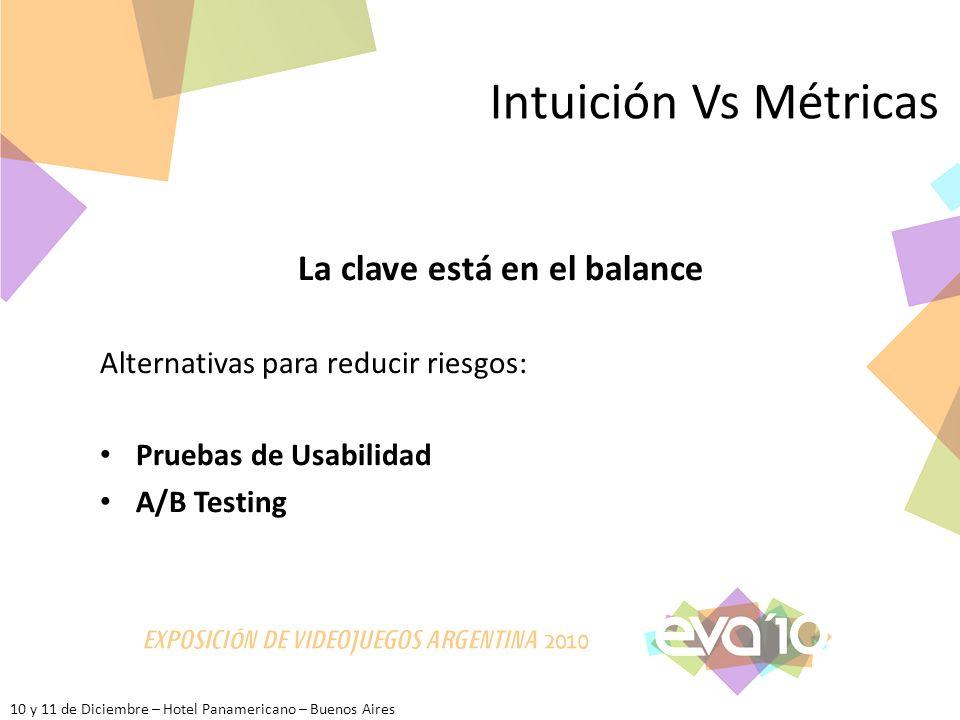 10 y 11 de Diciembre – Hotel Panamericano – Buenos Aires Intuición Vs Métricas La clave está en el balance Alternativas para reducir riesgos: Pruebas de Usabilidad A/B Testing