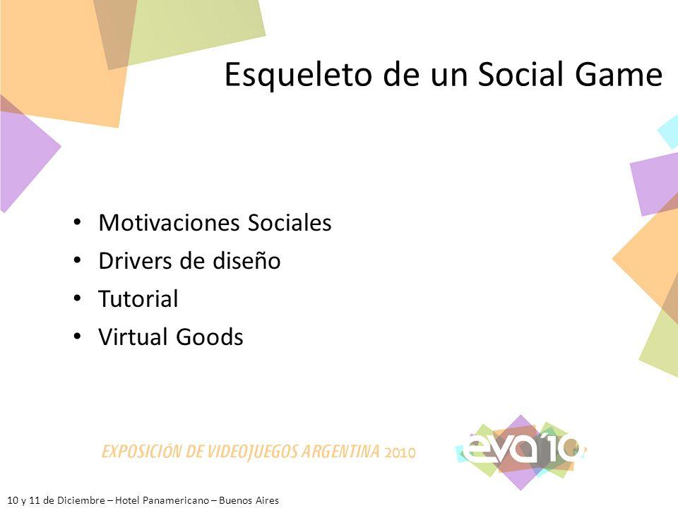 10 y 11 de Diciembre – Hotel Panamericano – Buenos Aires Esqueleto de un Social Game Motivaciones Sociales Drivers de diseño Tutorial Virtual Goods