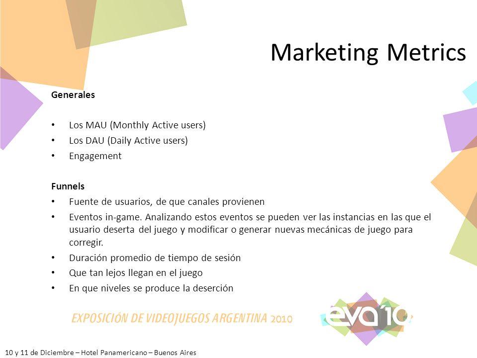 10 y 11 de Diciembre – Hotel Panamericano – Buenos Aires Marketing Metrics Generales Los MAU (Monthly Active users) Los DAU (Daily Active users) Engag