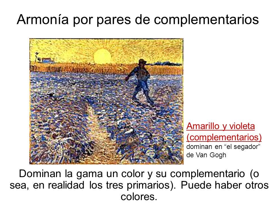 Armonía por pares de complementarios Dominan la gama un color y su complementario (o sea, en realidad los tres primarios). Puede haber otros colores.