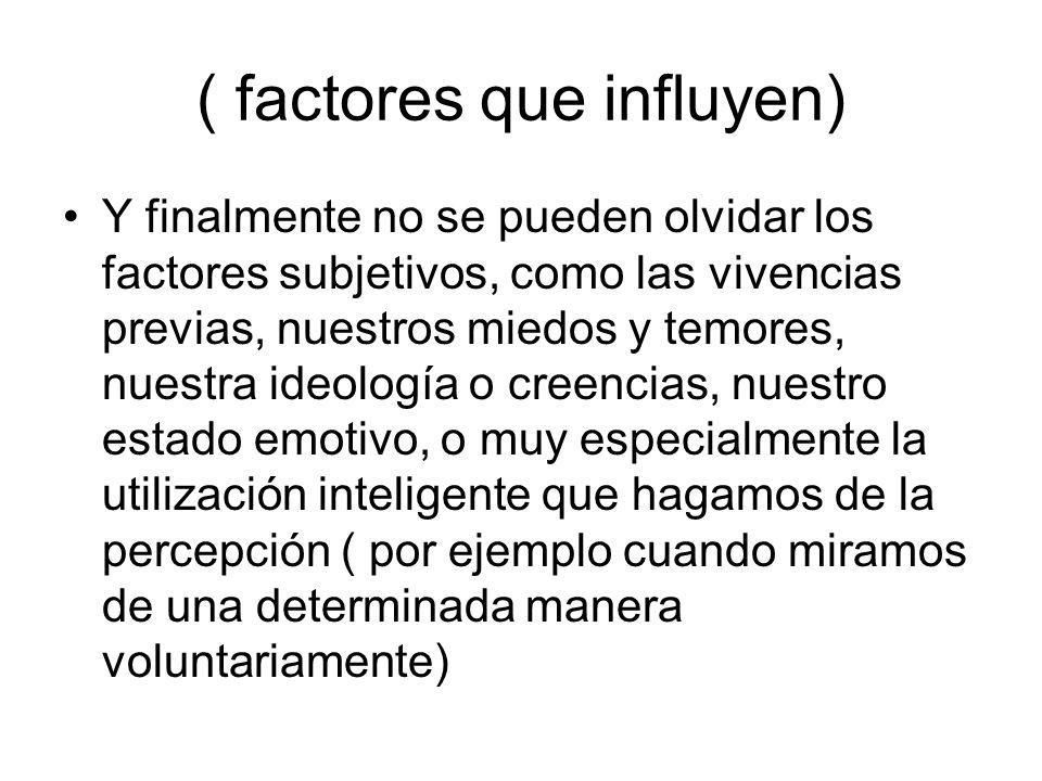 ( factores que influyen) Y finalmente no se pueden olvidar los factores subjetivos, como las vivencias previas, nuestros miedos y temores, nuestra ide
