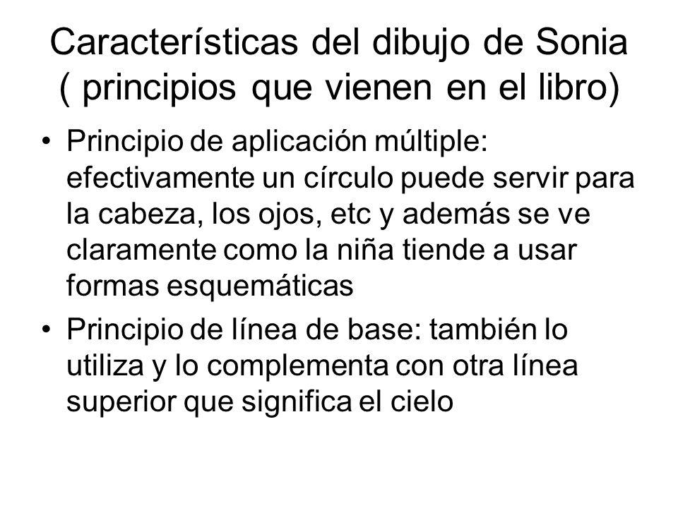Características del dibujo de Sonia ( principios que vienen en el libro) Principio de aplicación múltiple: efectivamente un círculo puede servir para