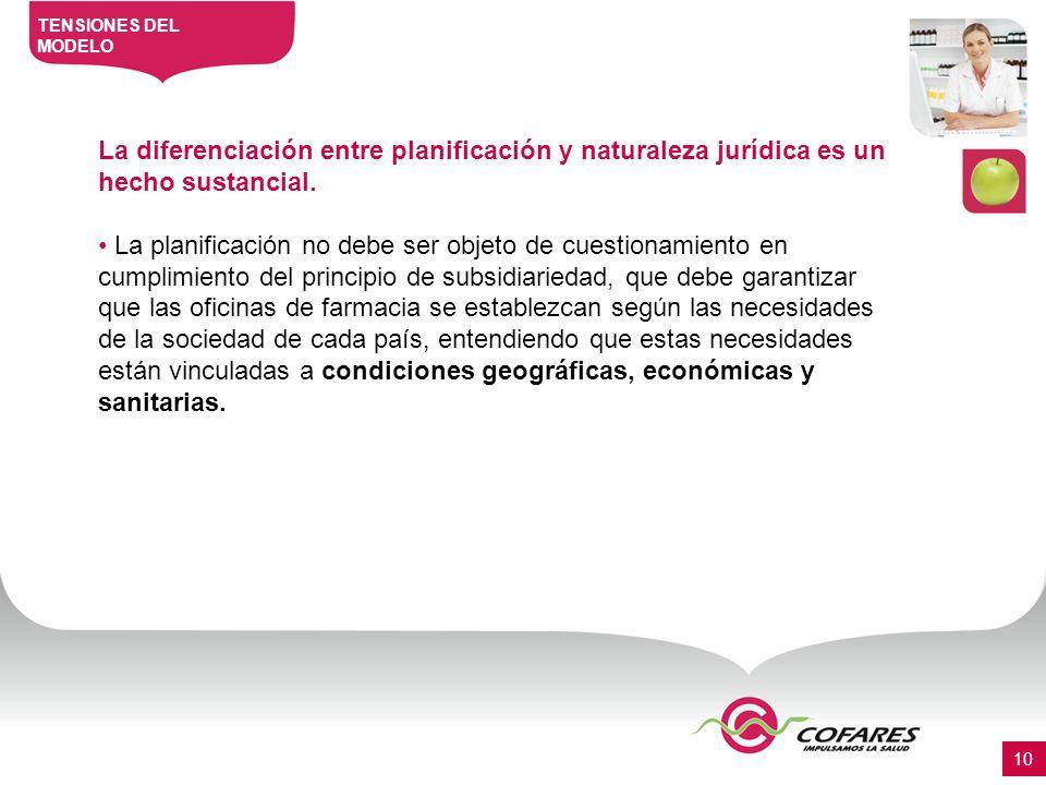 La diferenciación entre planificación y naturaleza jurídica es un hecho sustancial.
