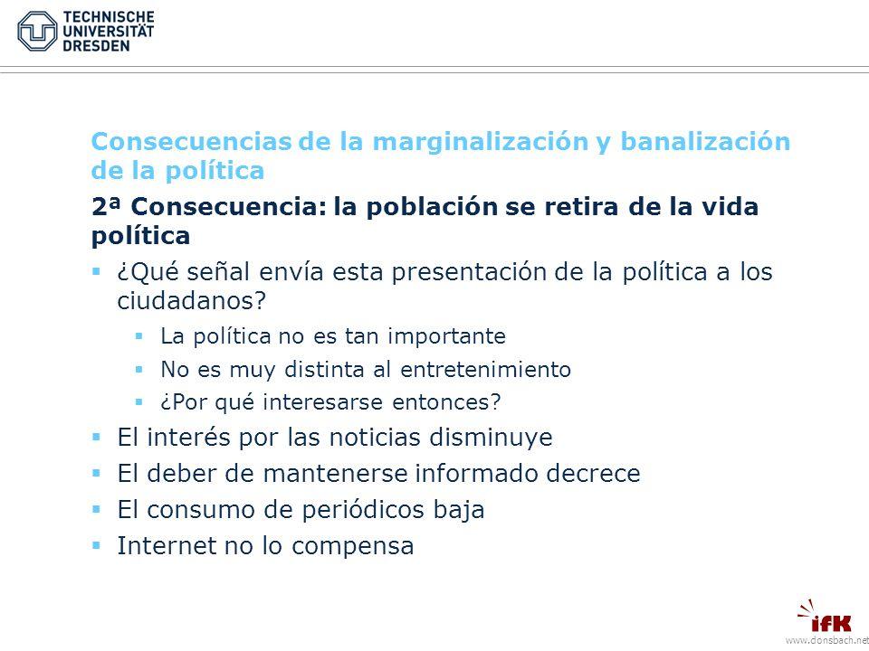 www.donsbach.net Consecuencias de la marginalización y banalización de la política 2ª Consecuencia: la población se retira de la vida política ¿Qué señal envía esta presentación de la política a los ciudadanos.