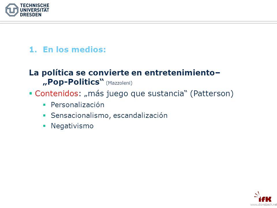 www.donsbach.net 1.En los medios: La política se convierte en entretenimiento– Pop-Politics (Mazzoleni) Contenidos: más juego que sustancia (Patterson) Personalización Sensacionalismo, escandalización Negativismo