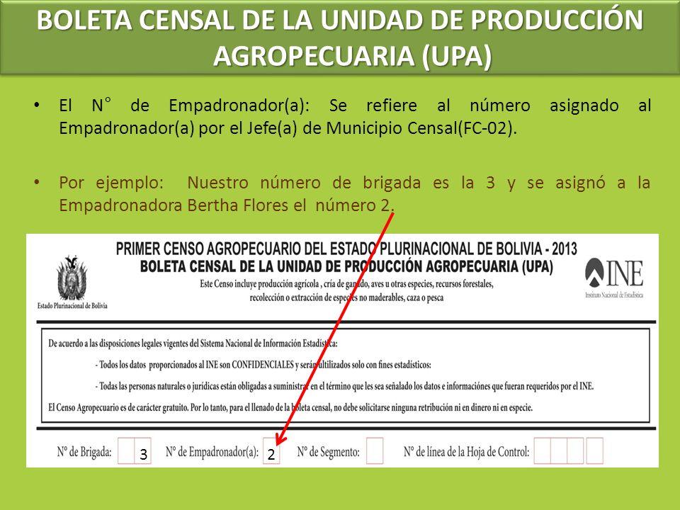 El N° de Empadronador(a): Se refiere al número asignado al Empadronador(a) por el Jefe(a) de Municipio Censal(FC-02). Por ejemplo: Nuestro número de b