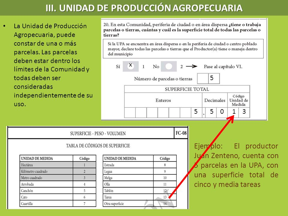 La Unidad de Producción Agropecuaria, puede constar de una o más parcelas. Las parcelas deben estar dentro los límites de la Comunidad y todas deben s