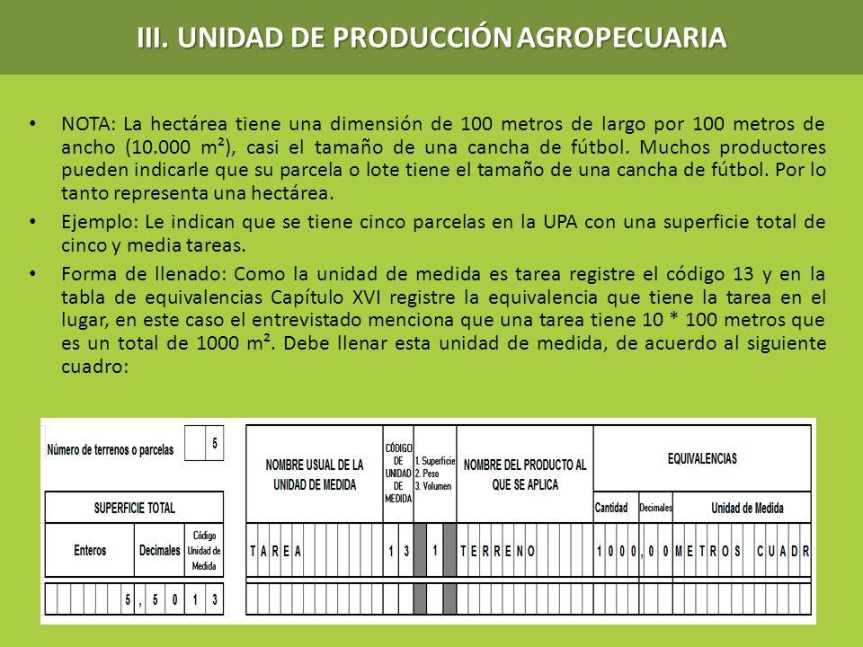 NOTA: La hectárea tiene una dimensión de 100 metros de largo por 100 metros de ancho (10.000 m²), casi el tamaño de una cancha de fútbol. Muchos produ