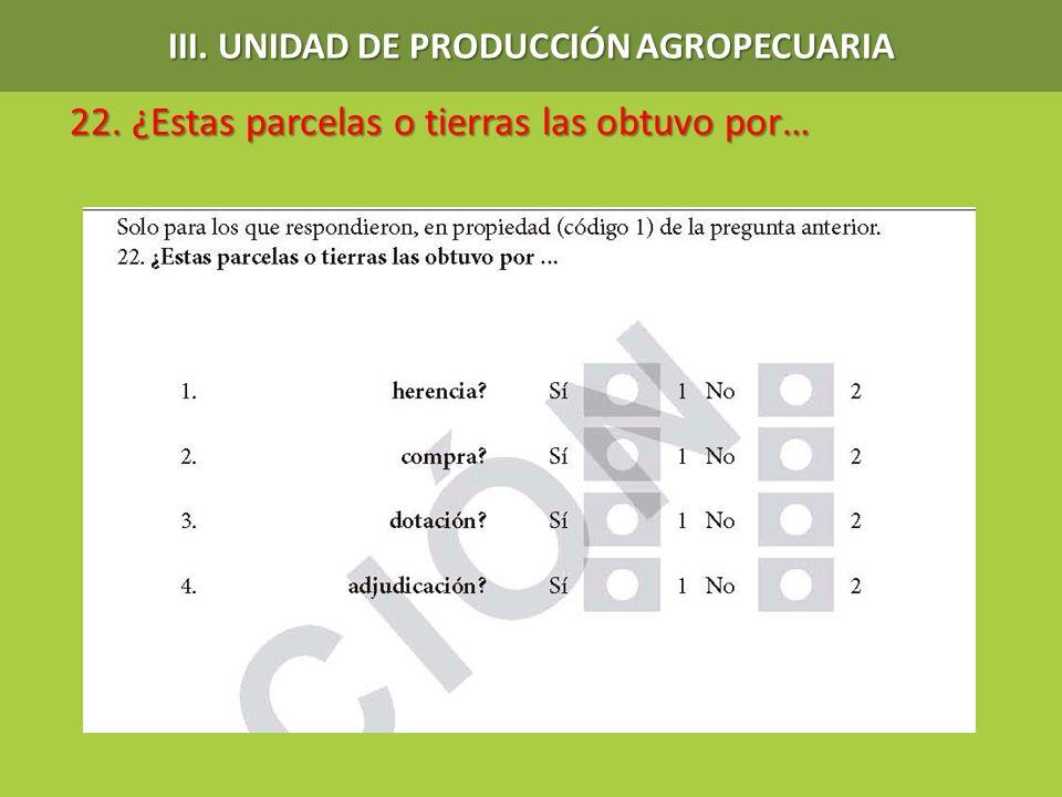 22. ¿Estas parcelas o tierras las obtuvo por… 22. ¿Estas parcelas o tierras las obtuvo por… III. UNIDAD DE PRODUCCIÓN AGROPECUARIA