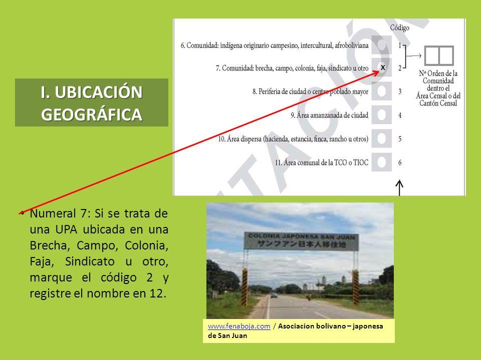 I. UBICACIÓN GEOGRÁFICA Numeral 7: Si se trata de una UPA ubicada en una Brecha, Campo, Colonia, Faja, Sindicato u otro, marque el código 2 y registre