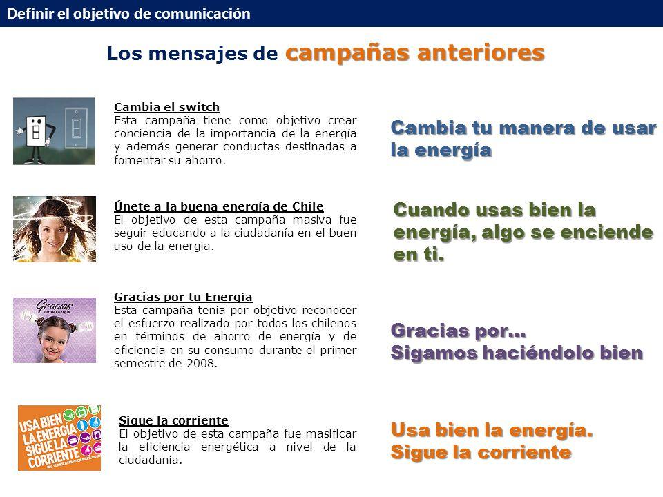 campañas anteriores Los mensajes de campañas anteriores Definir el objetivo de comunicación Únete a la buena energía de Chile El objetivo de esta campaña masiva fue seguir educando a la ciudadanía en el buen uso de la energía.